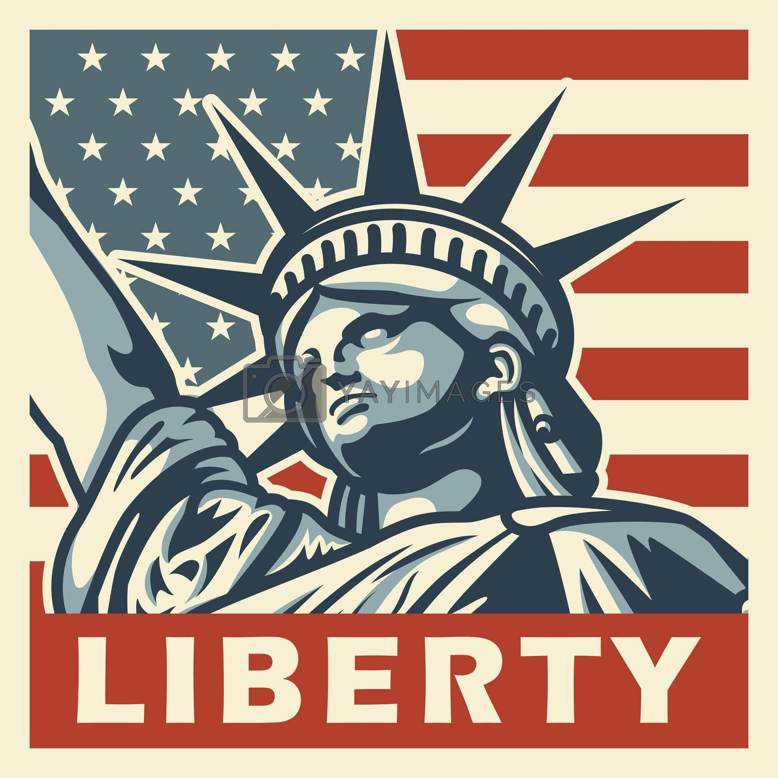 4th of july vintage poster with statue of liberty. Vector illustration