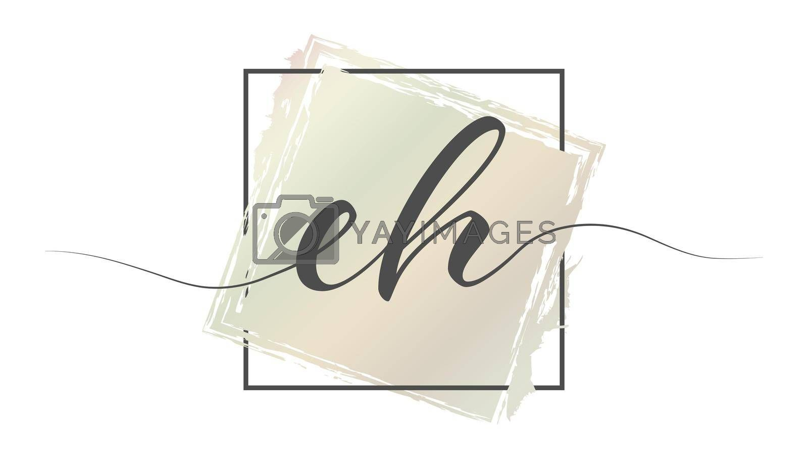 Calligraphic lowercase letters EH in a single line on a colored background in a frame. Vector illustration. Simple Style