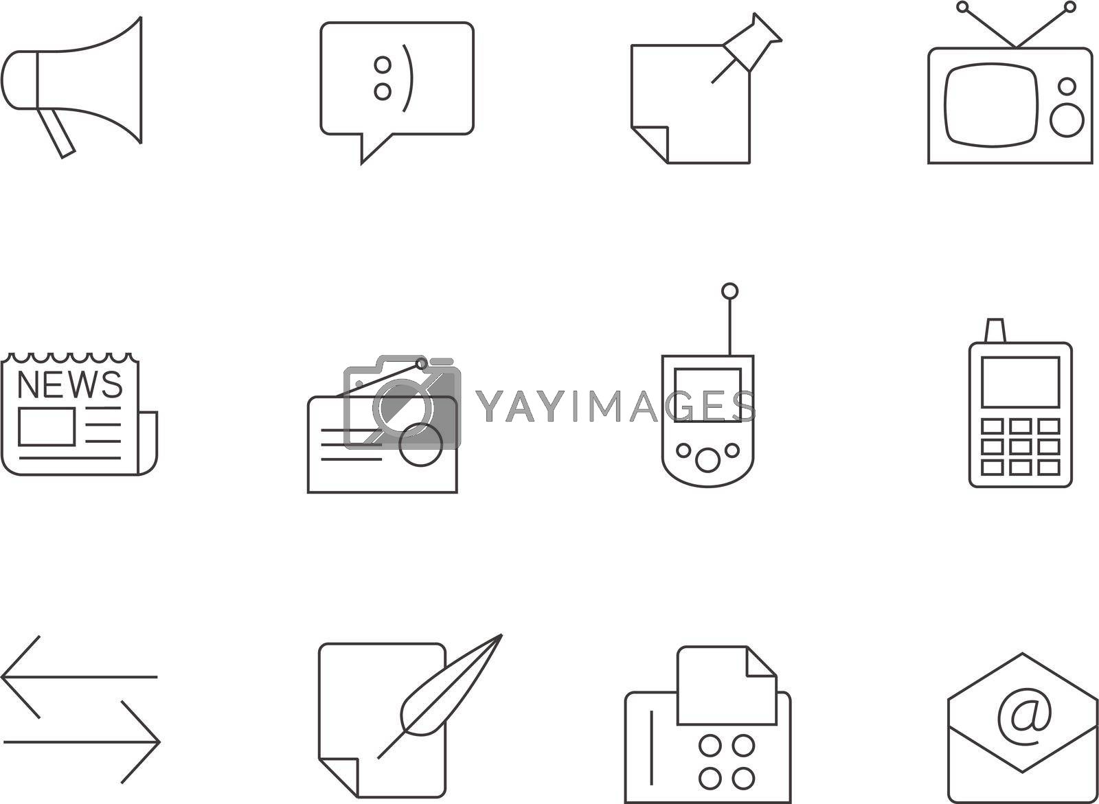 Communication icon series in thin outlines.