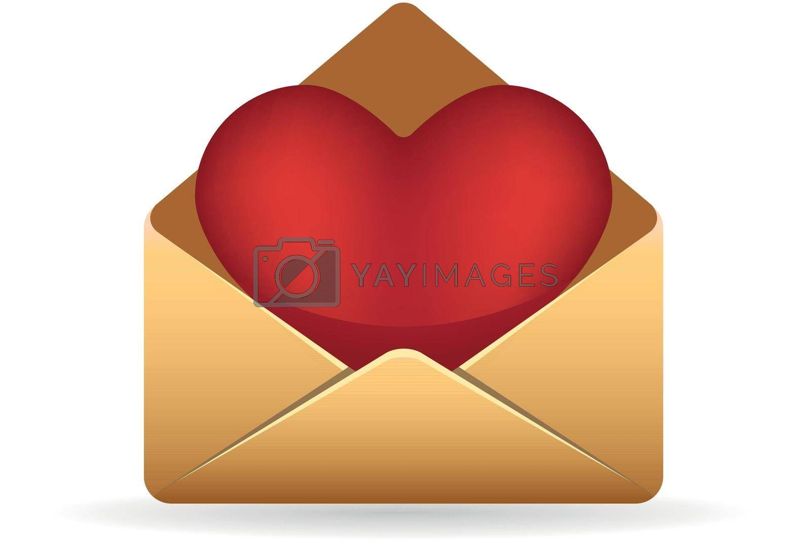Envelope with heart icon in color. Love romance gift
