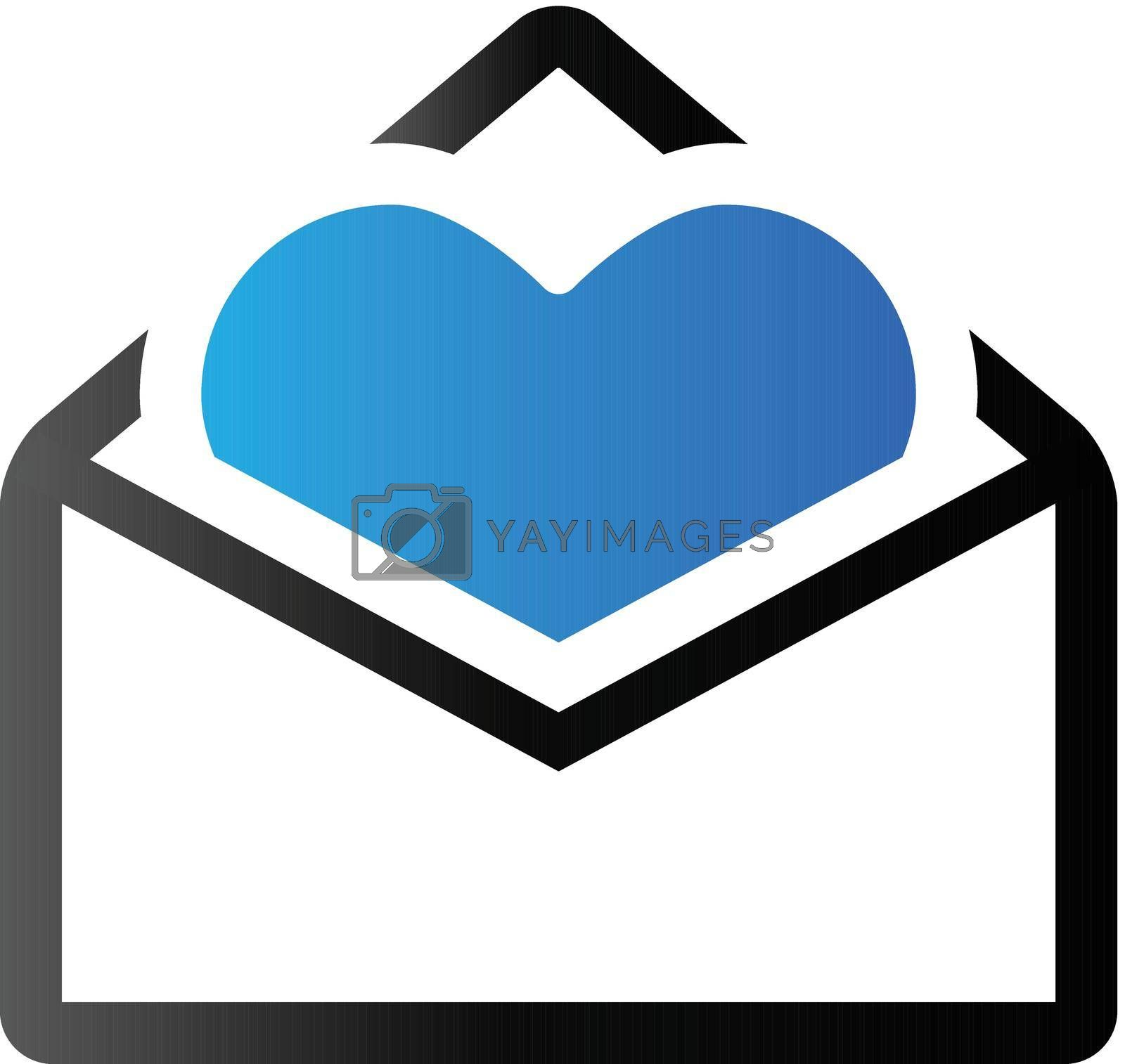 Envelope with heart icon in duo tone color. Love romance gift