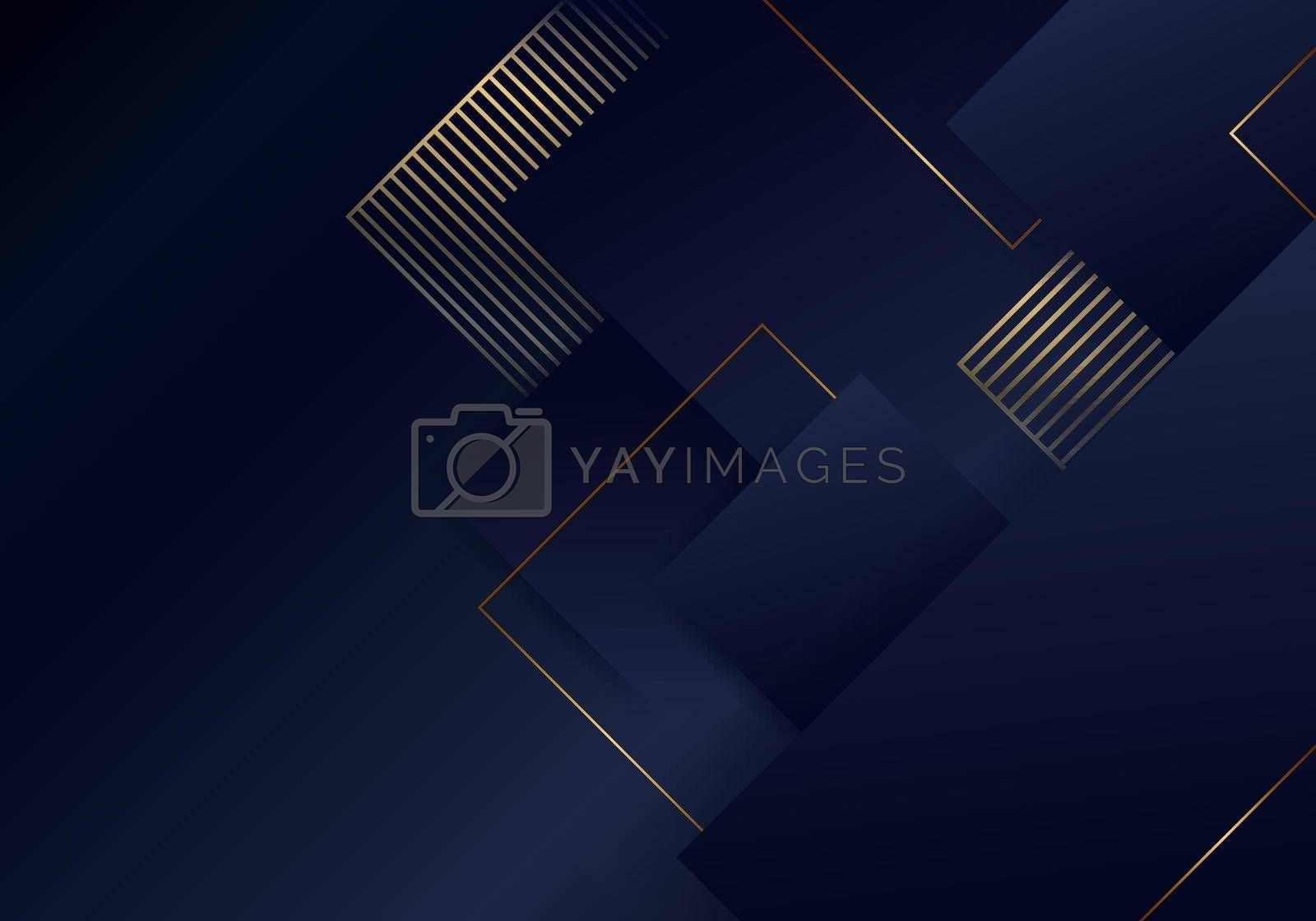 Royalty free image of Abstract luxury template elegant blue and gold squares overlapping layer pattern on dark blue background by phochi
