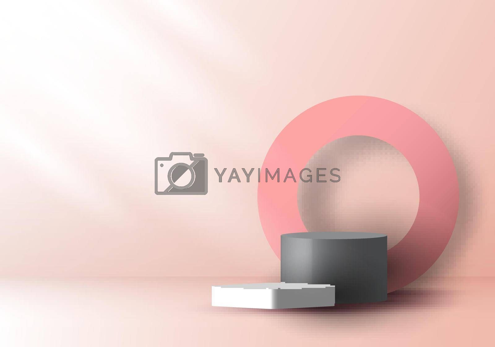 Royalty free image of 3D realistic pink and gray color geometric round shape stacked podium and circle backdro by phochi