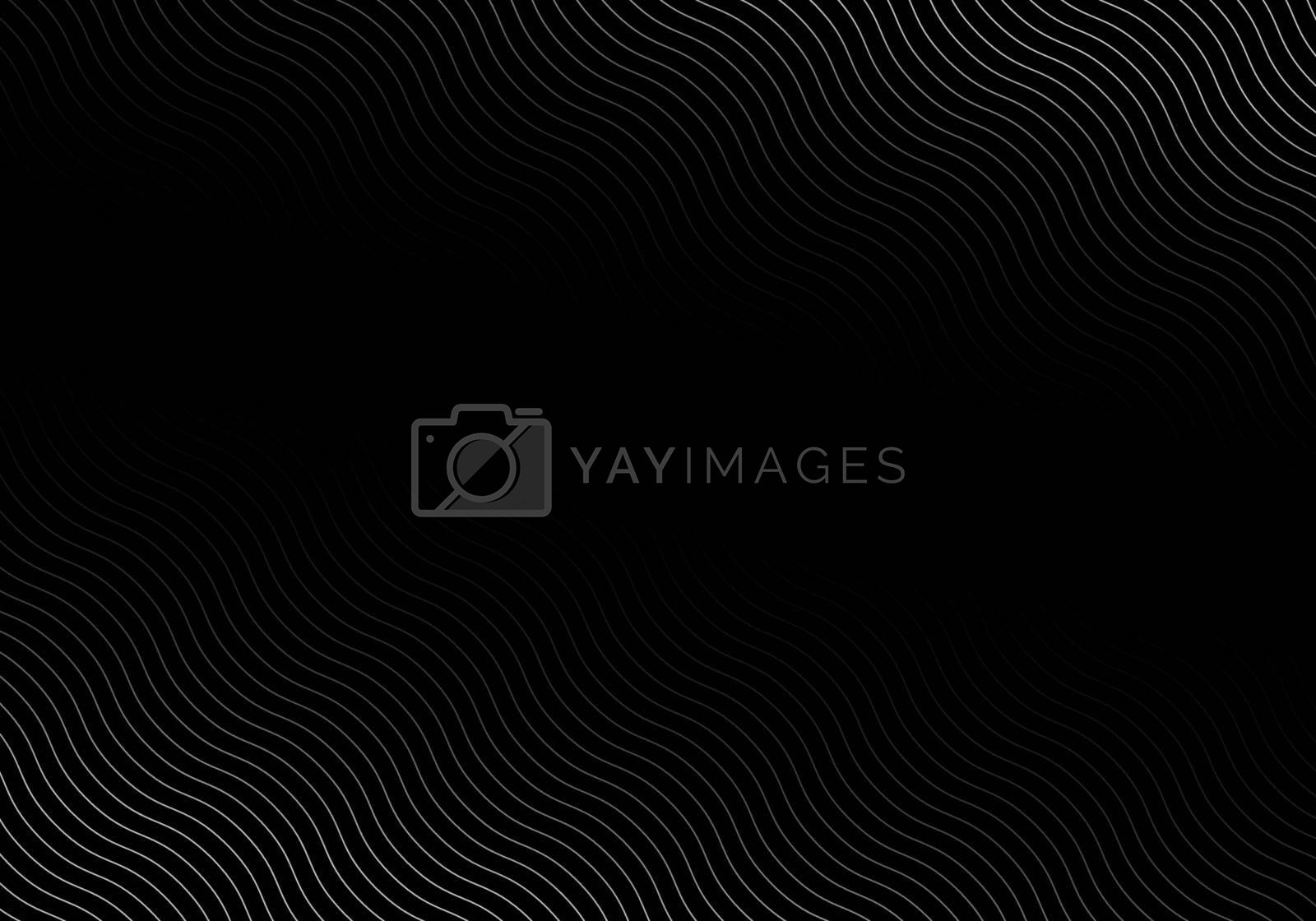 Royalty free image of Abstract wave lines white color pattern on black background by phochi