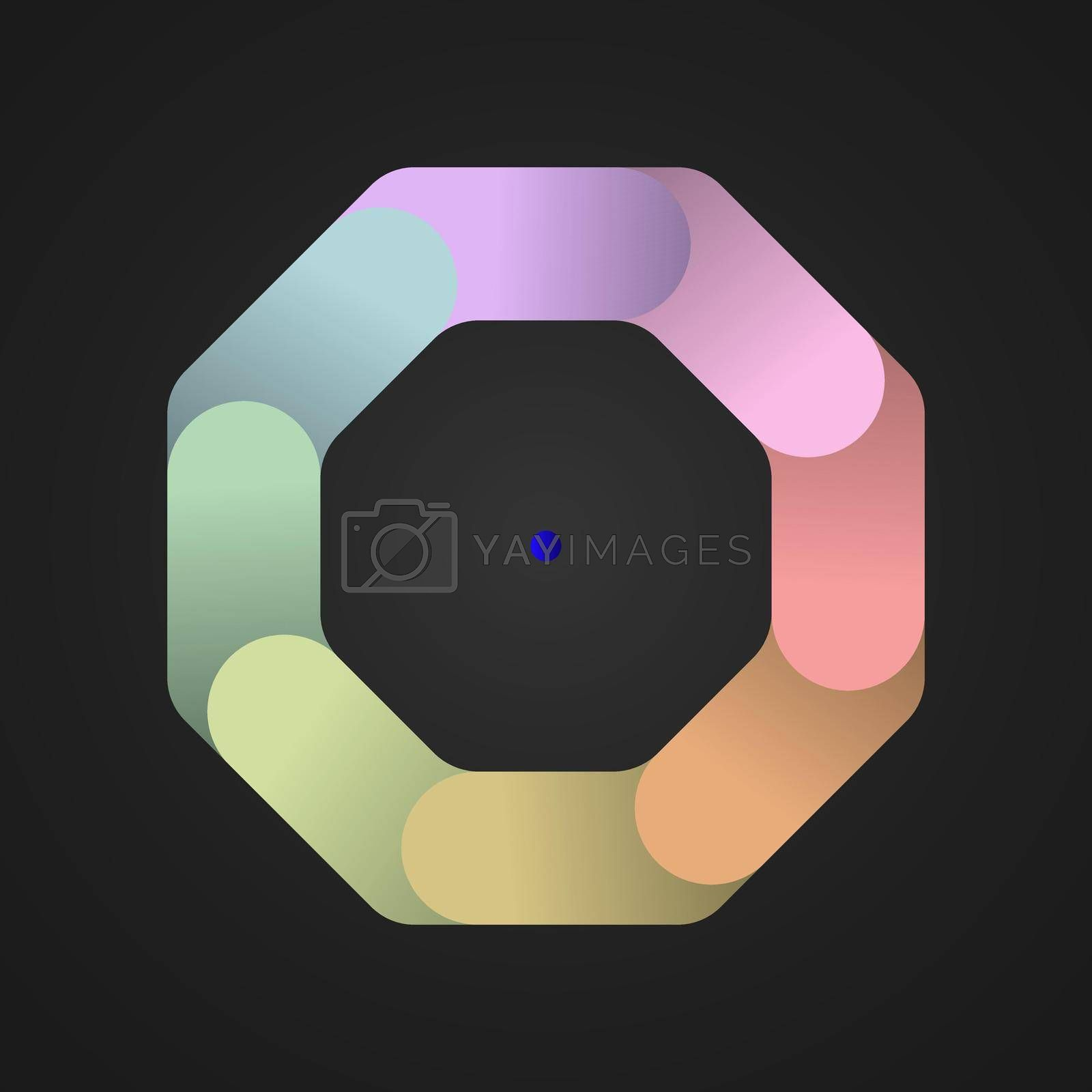 An octagon divided into eight colored parts. Template for infographics. Color design