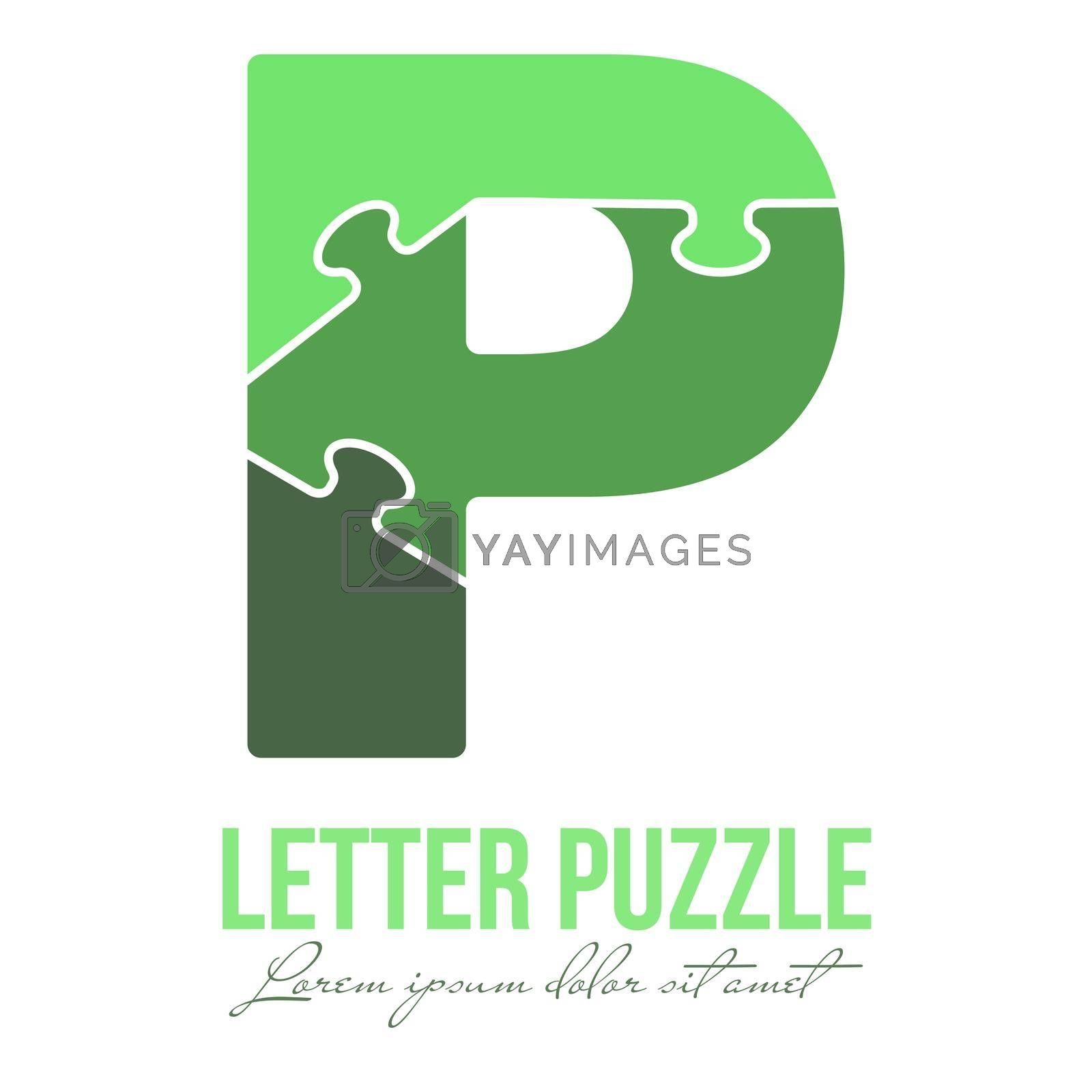 Letter P is made up of puzzles. Vector illustration for logo, brand logo, sticker or scrapbooking, for education. Simple style.