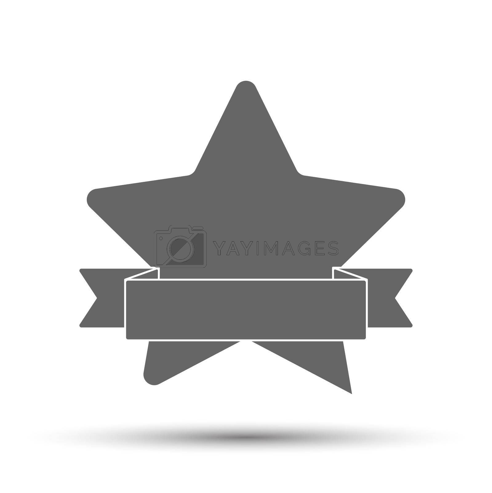 Silhouette of a five-pointed star with a ribbon. Vector illustration for scrapbooking and creative design. Flat style.