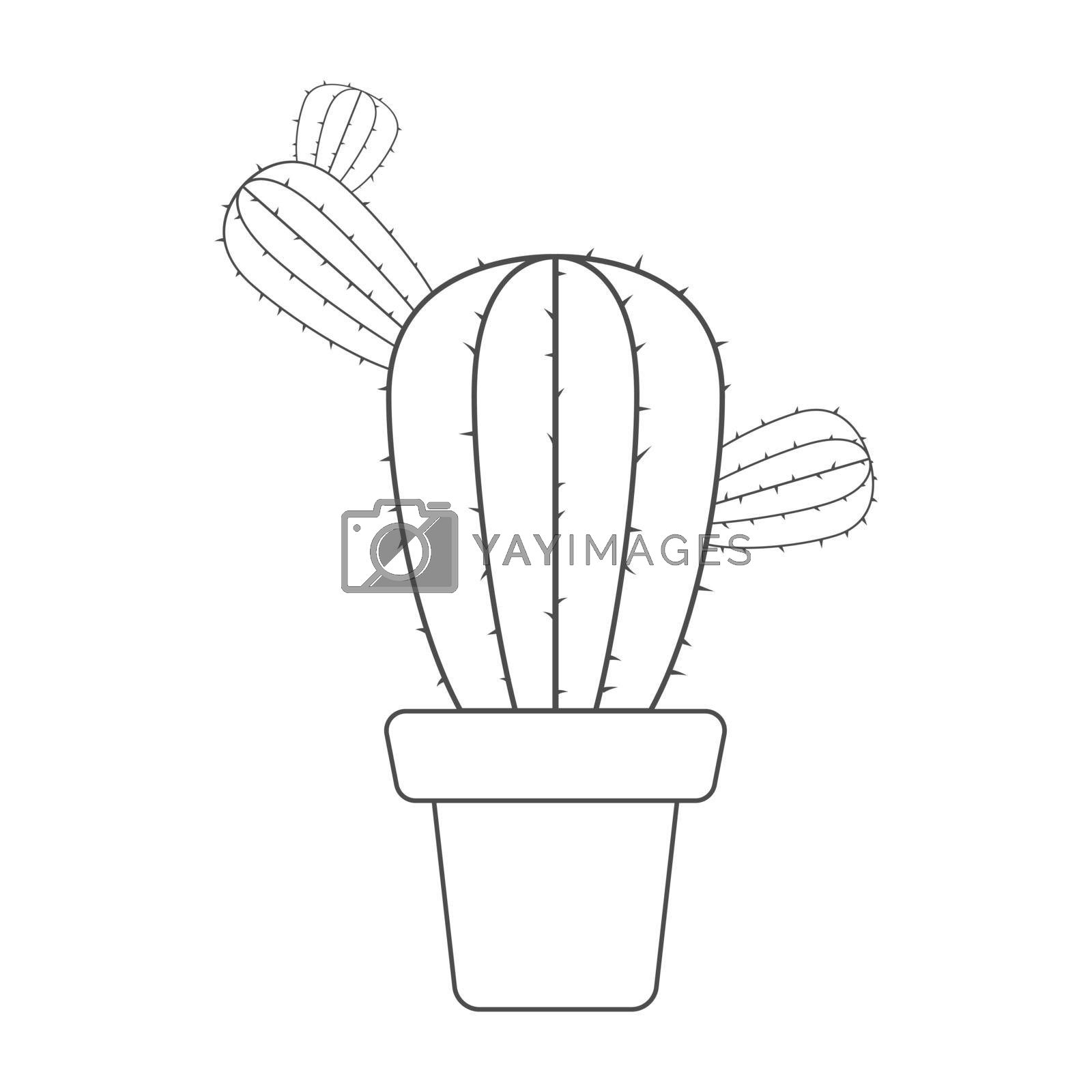 Royalty free image of Contour silhouette of a cactus. Vector illustration for coloring books, scrapbooking, and creative design by Grommik