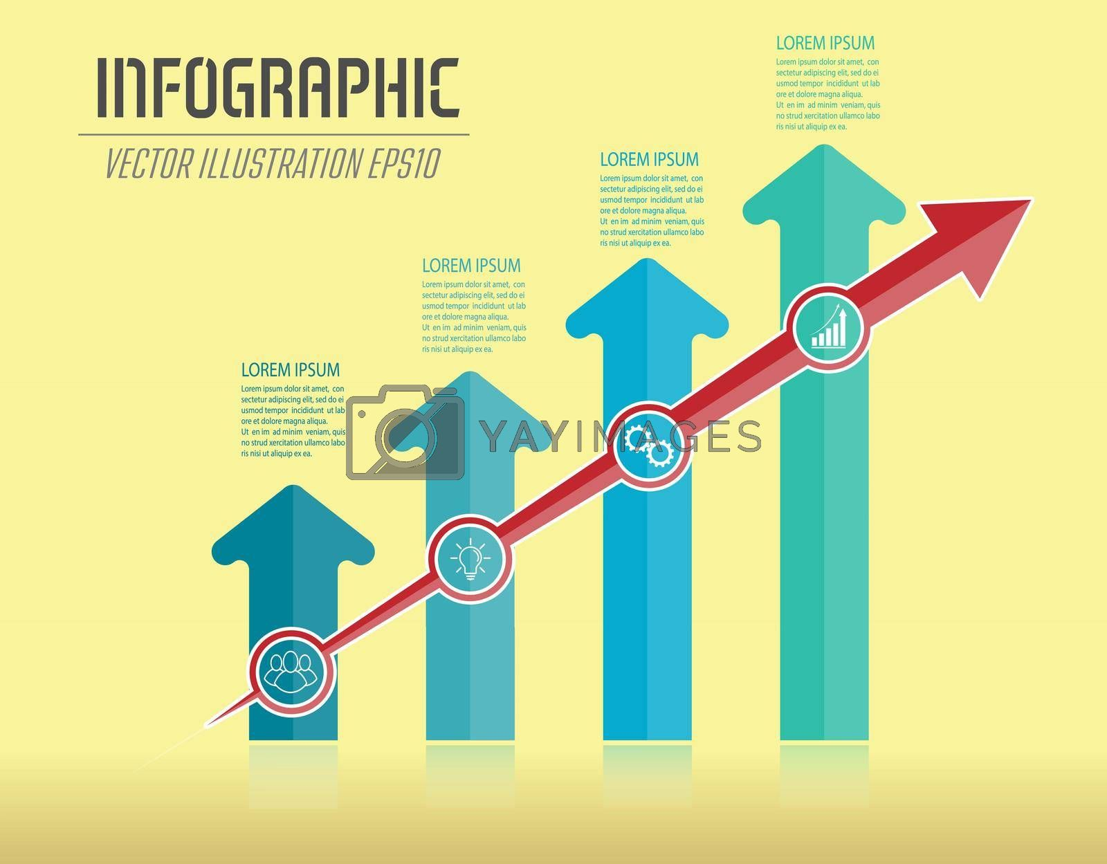 Royalty free image of Infographics with arrows. Dynamic development, the path to success, the improvement of the individual or the work process by Grommik