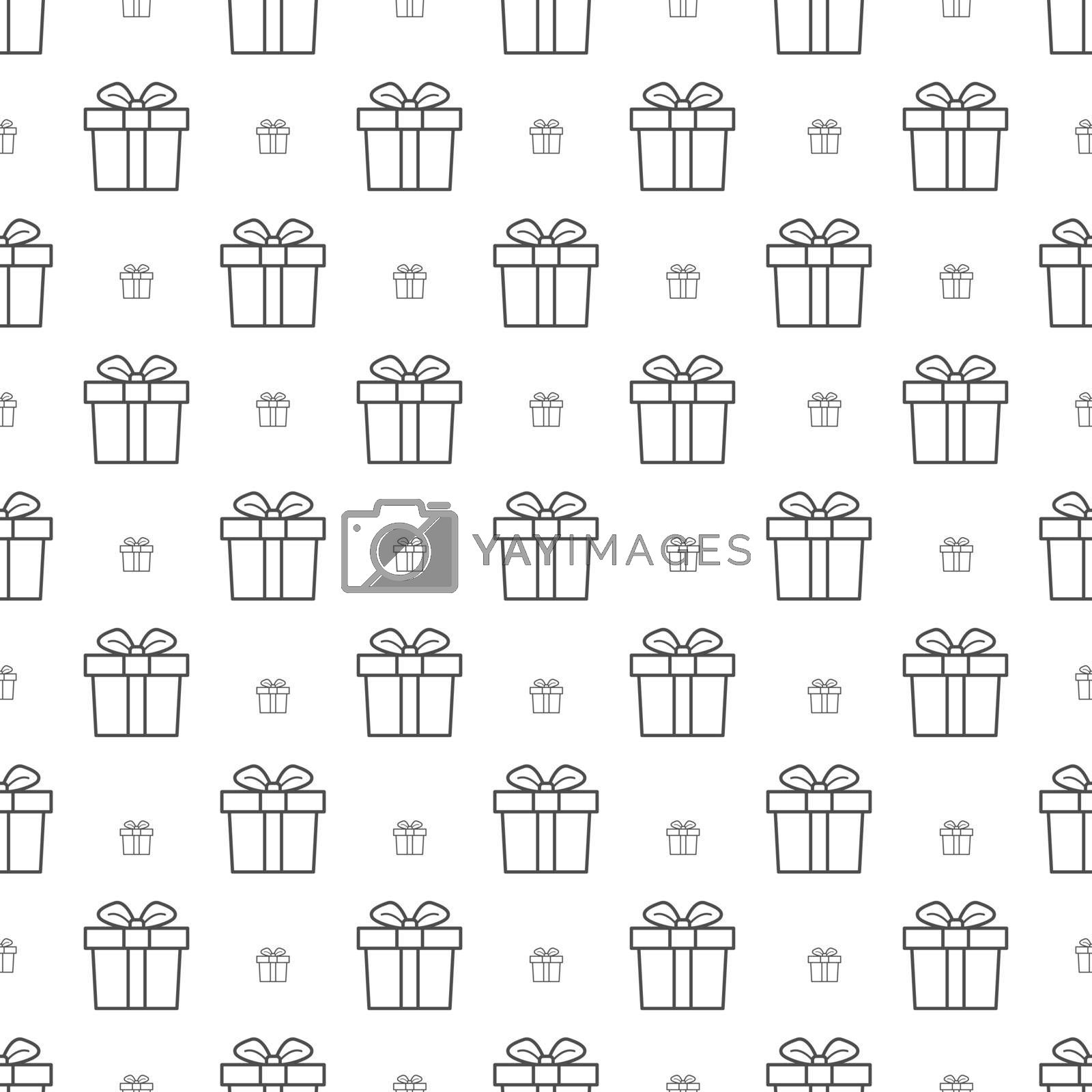 Seamless gift box pattern with bows for texture, textiles, packaging, and simple backgrounds. Flat Style