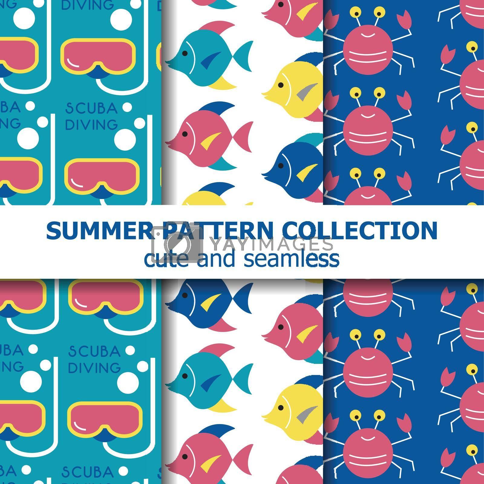 Underwater  summer pattern collection . Summer banner. Summer holiday. Vector