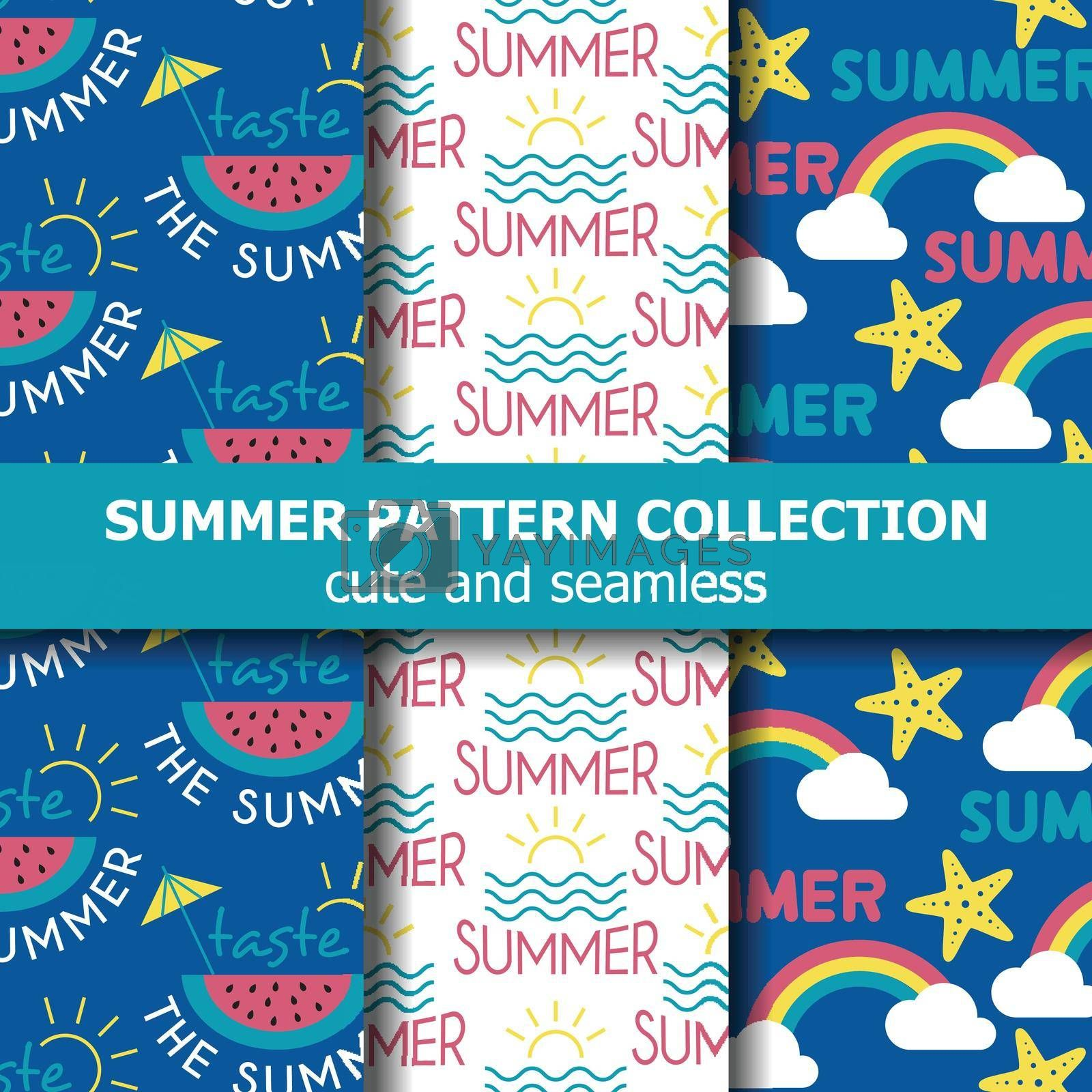 Fresh summer pattern collection . Summer banner. Summer holiday. Vector