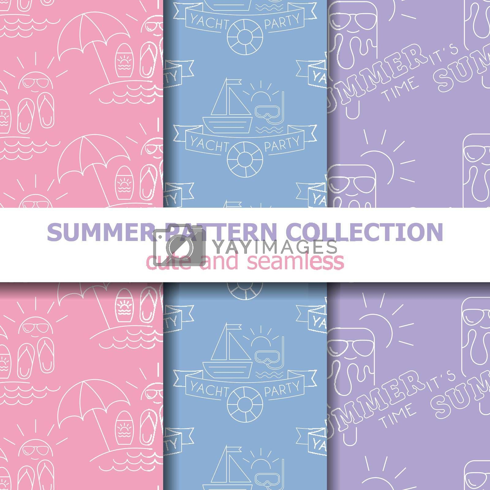 Royalty free image of Pastel summer pattern collection . Summer banner. Summer holiday. by balasoiu