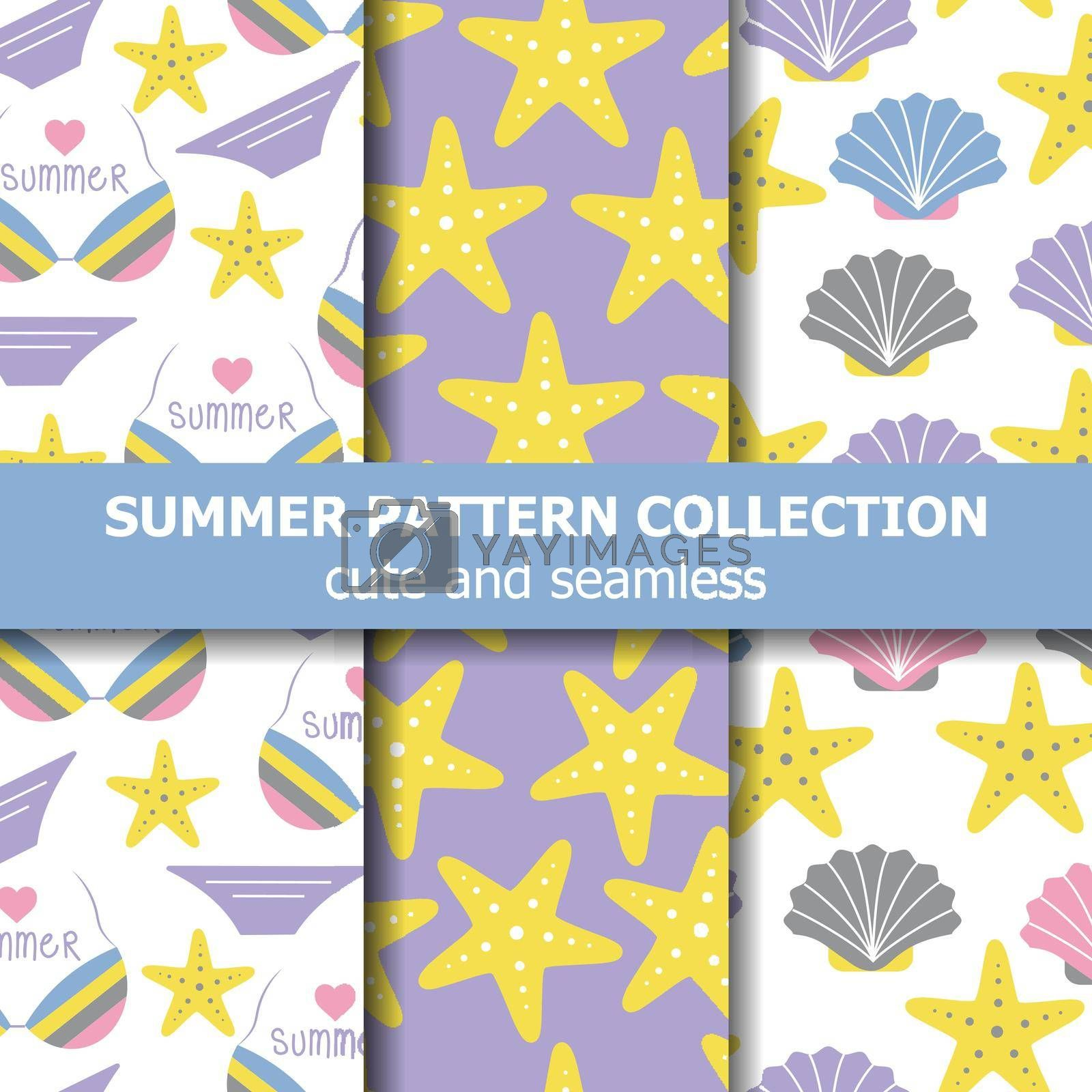 Beach  summer pattern collection . Summer banner. Summer holiday. Vector