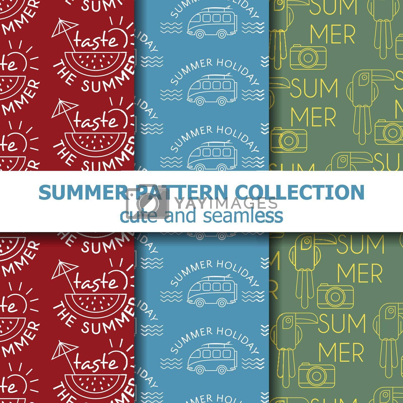 Cute summer pattern collection . Summer banner. Summer holiday. Vector
