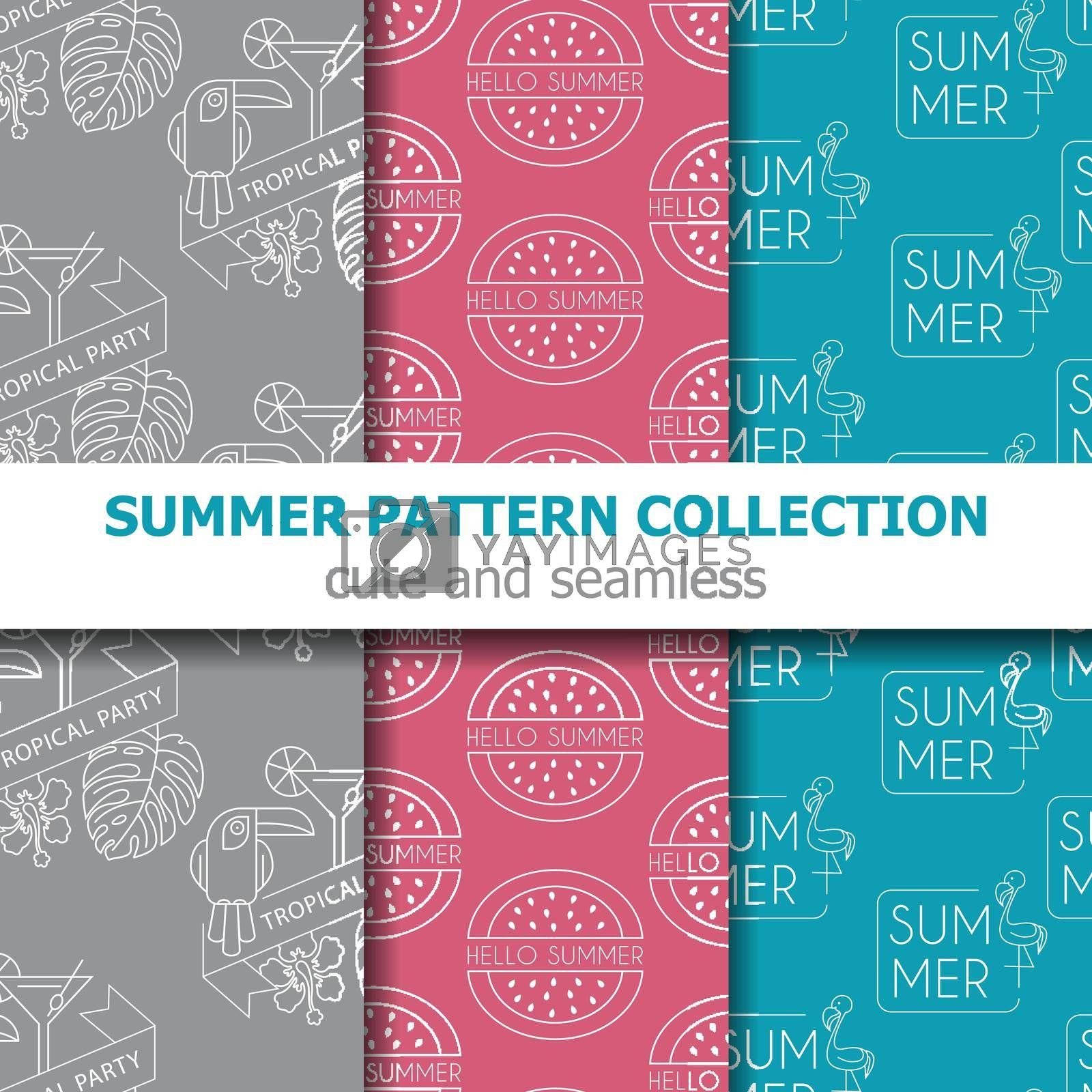 Royalty free image of Modern summer pattern collection . Summer banner. Summer holiday. by balasoiu