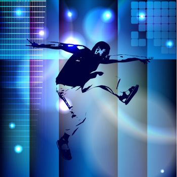 Abstract blue background with a bouncing boy. eps10