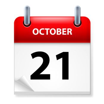 Twenty-first  October in Calendar icon on white background