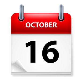 Sixteenth October in Calendar icon on white background