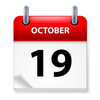 Nineteenth October in Calendar icon on white background