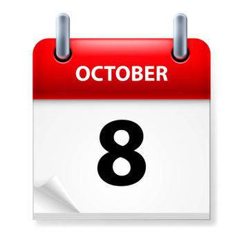 Eighth October in Calendar icon on white background