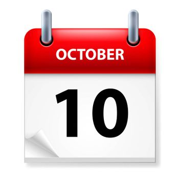 Tenth October in Calendar icon on white background