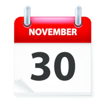 Thirtieth November in Calendar icon on white background