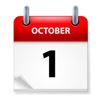 First October in Calendar icon on white background