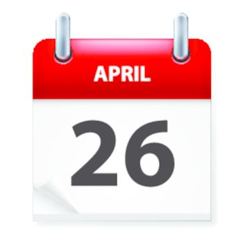 Twenty-Sixth in April Calendar icon on white background