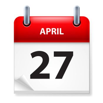 Twenty-seventh in April Calendar icon on white background