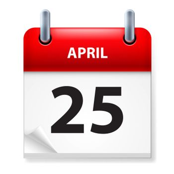 Twenty-fifth in April Calendar icon on white background