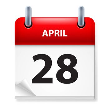 Twenty-eighth in April Calendar icon on white background