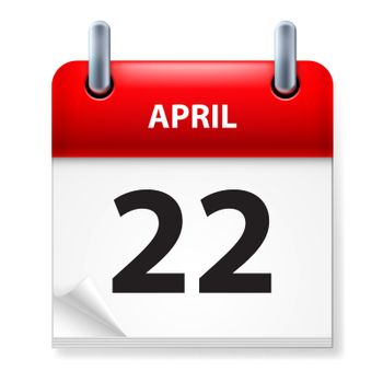 Twenty-second in April Calendar icon on white background