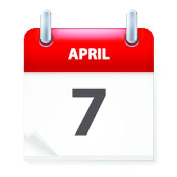 Seventh in April Calendar icon on white background