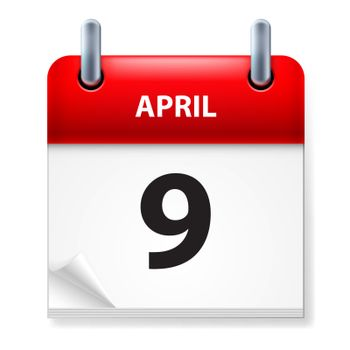 Ninth in April Calendar icon on white background