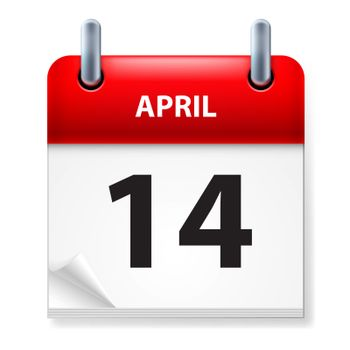 Fourteenth in April Calendar icon on white background