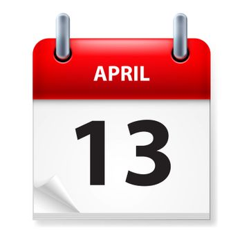 Thirteenth in April Calendar icon on white background