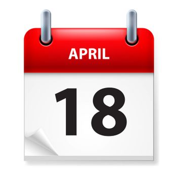 Eighteenth in April Calendar icon on white background
