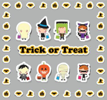 Kids in Halloween trick and treat Cartoon set