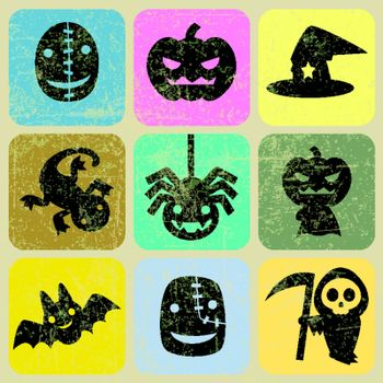 Set of vector icons for Halloween with Grunge Effect