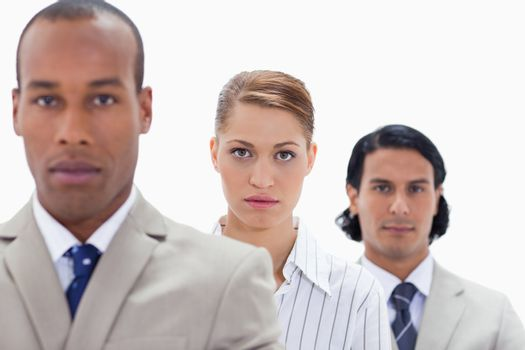 Big close-up of a serious business team in a single line with focus on the woman