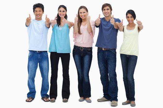 Customers approving with their thumbs-up against white background