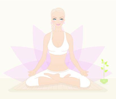 Vector illustration of Beautiful woman doing youga