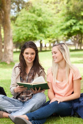 Teo teenagers sitting with a textbook in a park