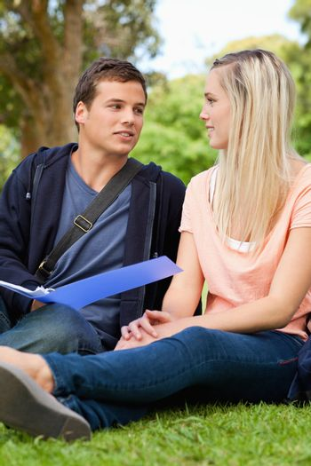 Students revising together in a park