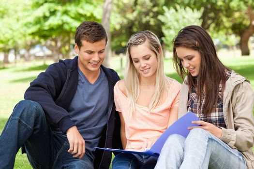 Three teenagers studying together in a park