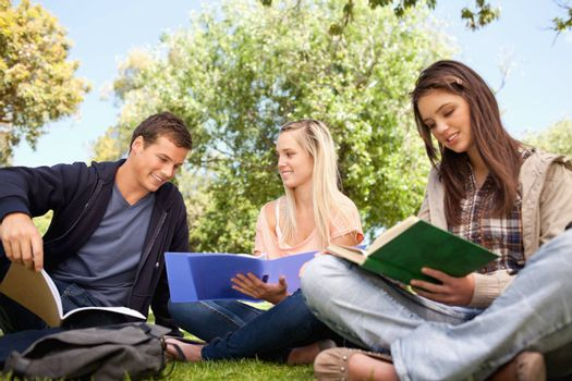 Low angle-shot of three young people working in a park