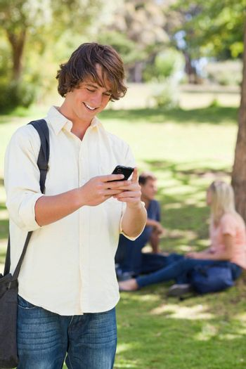 Young man using a smartphone in a park with friends in background