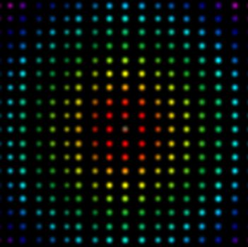 Multicolored dots placed in lines against a black background