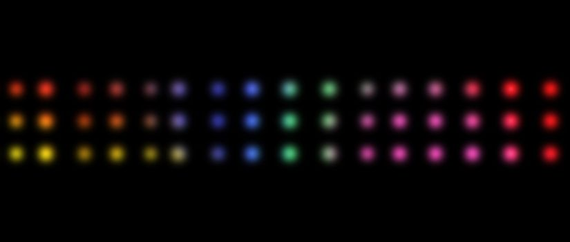 Three lines of multicolored dots against a black background